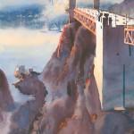 North Anchorage, Golden Gate Bridge, watercolor, 28 x 14.