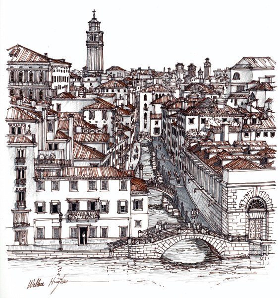 Wallace Hughes, Venice, An Angel's View, India ink/graphite, 12 x 11.