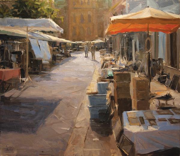 Derek Penix, Antique Market in France, oil painting