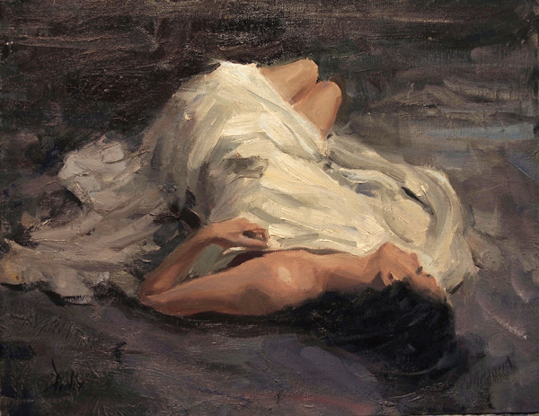 Derek Penix, Reclining Figure, oil painting