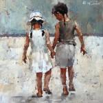Andre Kohn, Sisters, Series #8, oil, 17 x 17.