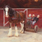 Deborah Berniklau, Who's Drivin,' oil, 14 x 14.