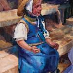 Mikyoung Ahn Osburn, A Little Blue Dress Girl, oil, 24 x 18.