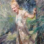 Lei Q. Min, Summer Garden, oil, 30 x 24.
