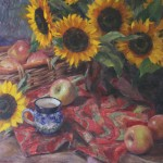 Emily Schultz, Sunflowers and Apples, oil, 20 x 16.