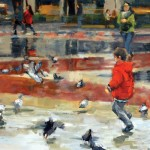 Heather Arenas, Chasing Pigeons, oil, 24 x 36.