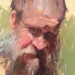 Suzie Baker, Mud Man, oil, 6 x 6.