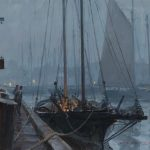 Christopher Blossom, Foggy Night in Gloucester, oil, 10 x 12.