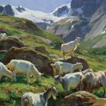 Clyde Aspevig, Goats in Norway, oil, 10 x 12.