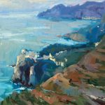 Guido Frick, Riviera on Italian Coast, oil, 28 x 32.