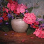 Justin Clements, Pink Geraniums, oil, 12 x 16.