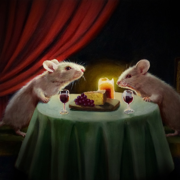Lucia Heffernan, Dinner Date, oil, 10 x 10.