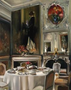 Thalia Stratton, Sargent's Tea Salon, oil, 24 x 18.
