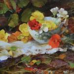 Nancy Guzik, Begonia Tea, oil, 8 x 12.