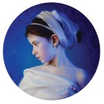 Marina Dieul, La Baigneuse, oil, 16-inch diameter.