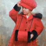 Marci Oleszkiewicz, Christmas Coat, oil, 12 x 9.