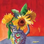 Diana Madaras, Sunflowers in Talavera, watercolor, 9 x 12.