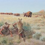 John Clymer, Stalking Buffalo, oil, 16 x 20. Estimate: $80,000-$120,000.