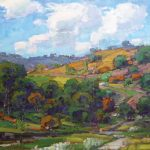 Karl Dempwolf, Oh Beautiful for Spacious Skies, oil, 16 x 16.