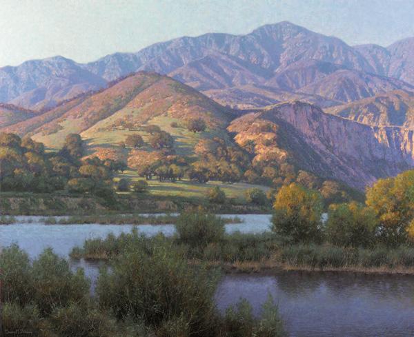Dennis Doheny, Winter Evening Lake Cachuma, 34 x 42.