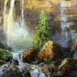 Gil Dellinger, Bridal Veil Falls at Telluride, oil, 11 x 14.