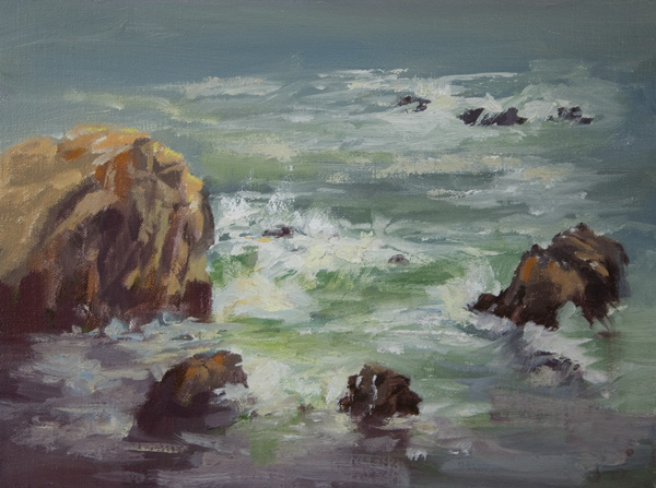 Kathy Cooper, Down the Cliff, oil, 9 x 12.