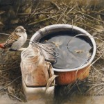 Michael Dumas, Forgotten Chores, House Sparrow, oil, 5 x 7.