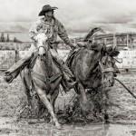 Bev Pettit, Bronc Pickup #2, digital print, 15 x 16.