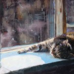 Jenny Buckner, Cat on a Ledge, oil, 20 x 24.