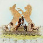 Andrew Denman, The Challengers (Wild Ponies), acrylic, 24 x 24.
