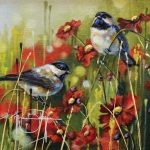 Renee Buller, Mom's Chickadees, oil, 8 x 8.