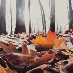 Denise Willing-Booher, Backlit Leaves, watercolor, 25 x 38.