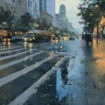 Hsin-Yao Tseng, Market Street Reflection, oil, 24 x 24.