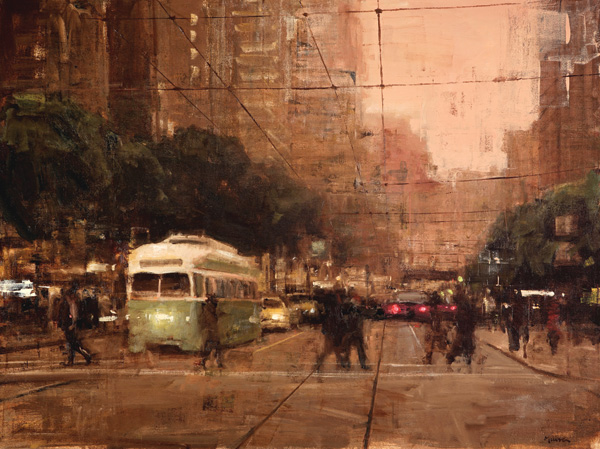 Terry Miura, Market Street Evening, oil, 30 x 40.