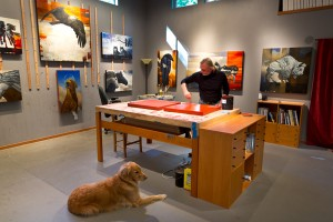 Craig Kosak at his art studio on Whidbey Island, WA