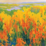 Teruko Wilde, Wild Flax, oil, 24 x 24.