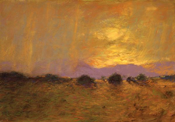 Tom Perkinson, Mesa Storm, pastel, 9 x 13.