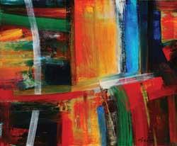 John Axton, Weaving Threads, mixed media, 10 x 12.