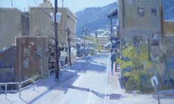 Jill Carver, Morning Shadows, Jerome, oil, 12 x 20.