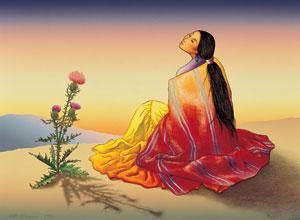 Navajo Dawn (1992), lithograph, 27 x 36.