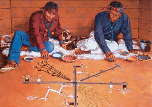 Hyrum C. Joe, The Navajo Blessingway Ceremony, oil, 30 x 40.