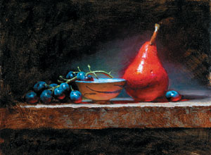 Pear, Grapes, and a Cup, oil, 9 x 12.