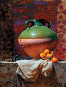 Vessel With Apricots, oil, 30 x 24.