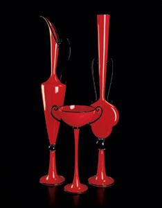 Red Trio, Blown Glass, H39