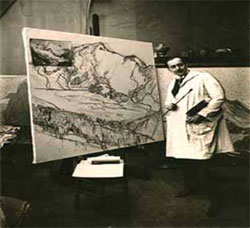 Edgar Payne in his Paris studio, circa 1924