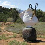 Kevin Box, Rock, Paper, Scissors, bronze, 108 x 52 40, in collaboration with Warren Cullar