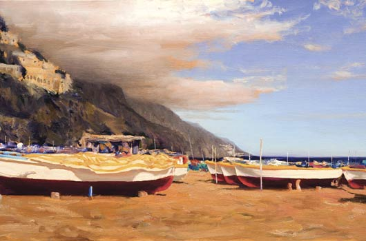 William Berra, Colors of Positano, oil, 24 x 48.