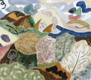 Sarah Bienvenu, Cerrillos in March, watercolor, 28 x 30.