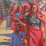 Pushkar Bazaar Red, Oil, 48x32.