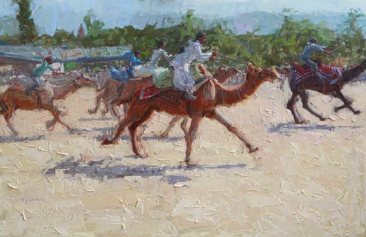 Camel Race, Oil, 16x24.